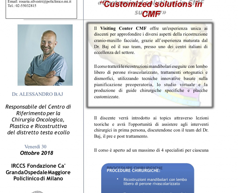 "VISITING CENTER ""Customized solutions in CMF"""