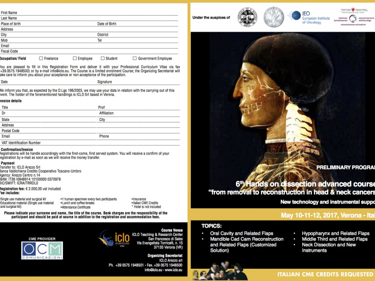 "6th Hands on dissection advanced course: ""from removal to reconstruction in head & neck cancers"